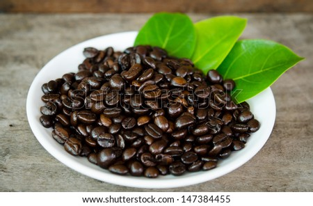Coffee beans on the plate