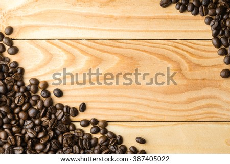 Coffee beans on the table. Free space for your text