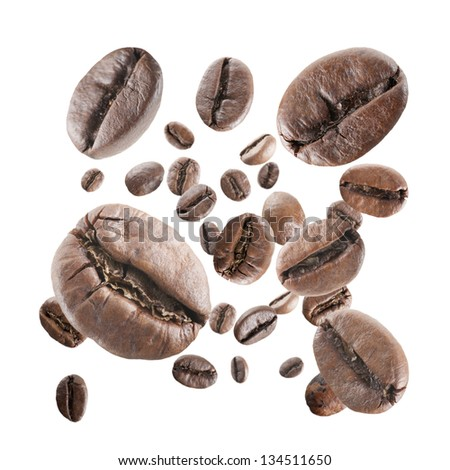 coffee beans rain on white background