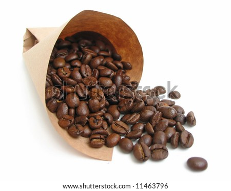 Coffee beans spilling from a paper bag