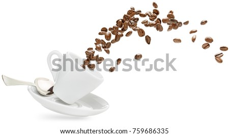 coffee beans spilling out of a cup isolated on white #759686335