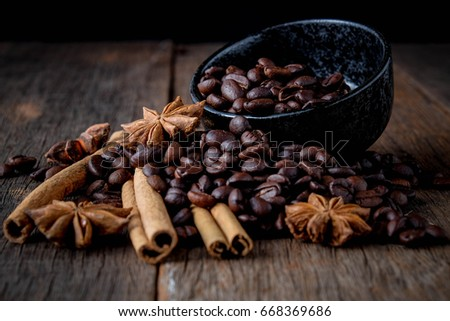 Coffee beans with cinnamon A mixture of popular drinks. #668369686