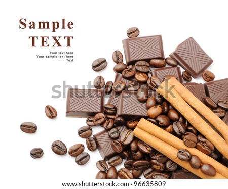 Coffee beans with cinnamon sticks, chocolate over white background with space for your text