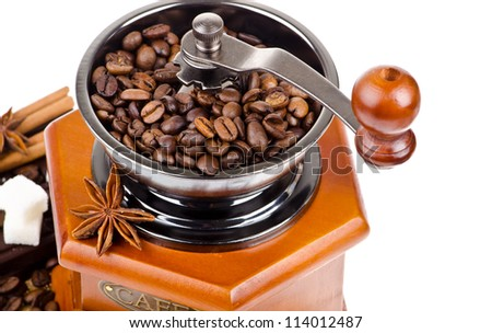 Coffee beans with coffee grinder
