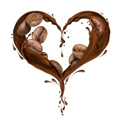 Coffee beans with splashes of chocolate in the shape of the heart