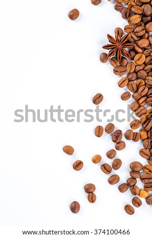 Coffee beans with white background for copy space. #374100466