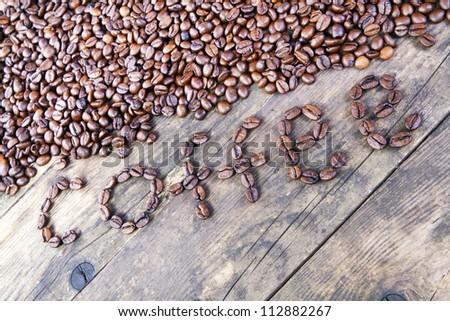 Coffee berries of the coffee spelled words.