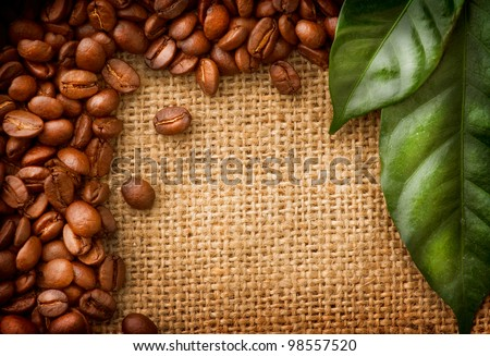 Coffee Border design. Beans and Leaf over Burlap Background