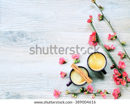 coffee break, coffee and flowers, spring or summer background ,with space for text