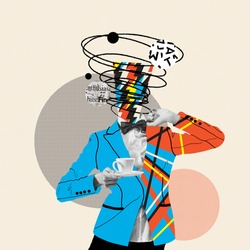 Coffee break. Comics styled orange blue striped suit. Modern design, contemporary art collage. Inspiration, idea concept, trendy urban magazine style. Negative space to insert your text or ad.