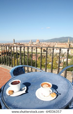 Coffee break in the bar with wonderful view of Florence