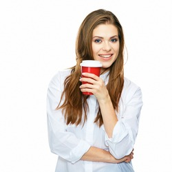coffee break with big red cup. business woman isolated on white background studio portrait.