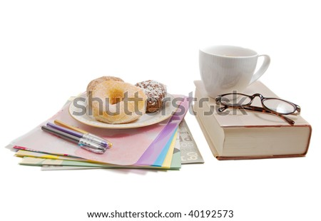 coffee break with donuts and a pile of files