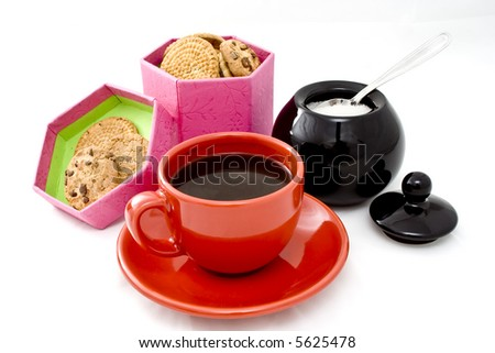 Coffee Break with fruits and biscuits