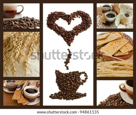 Coffee breakfast background with wheat, cookies and flour