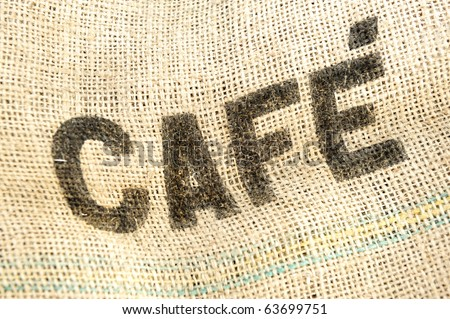Coffee, cafe bag, fabric grunge background