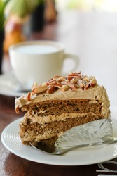 Coffee cake almonds and coffee background and coffee break
