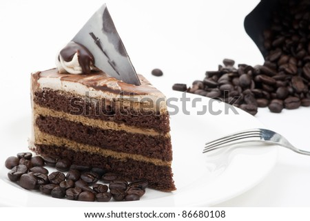 Coffee Cake with Coffee Beans on white background