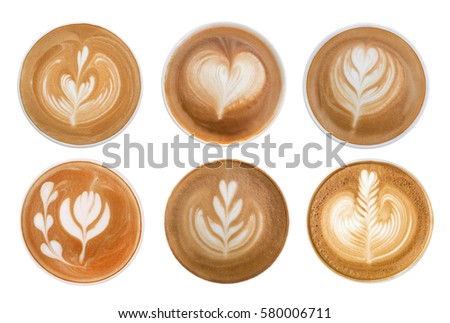 Coffee cappuccino latte art foam set isolated on white background