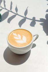 coffee cappuccino on white background with sun light shadows in flowers form
