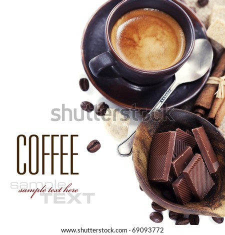 Coffee chocolate brown sugar and cinnamon with sample text