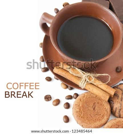 Coffee, chocolate candy, cakes and cinnamon (with sample text)