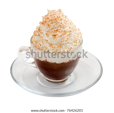 Coffee cocktail cup    isolated on white background. clipping Path