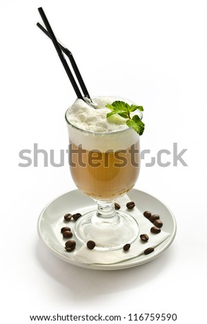 coffee cocktail with cream. isolated
