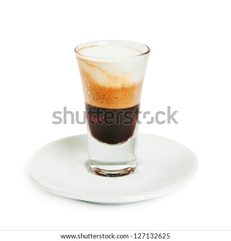 Coffee cocktail with syrup isolated on white