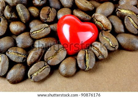 Coffee, coffee beans and red heart