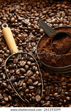coffee, coffee beans, coffee beans background, ground coffee, scoop, coffee scoop, abundance, instant coffee, food and drink