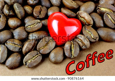Coffee, coffee beans, red heart and \