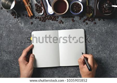 Coffee, coffee beans, titles, labels, menus, recipes, orders, handwriting #1035901852