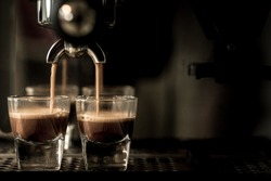 Coffee. Coffee espresso.Espresso machine brewing a coffee