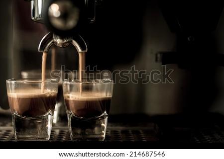 Coffee. Coffee espresso.Espresso machine brewing a coffee