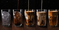 Coffee collage. Set with different stages of Iced coffee with milk in tall glass on dark background. Milk pouring into glass with ice cube and coffee.Van be used as Menu, recipe, banner, poster