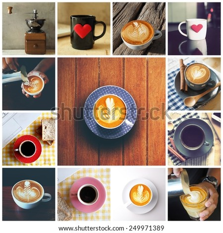 Coffee collage with Coffee espresso, cappuccino, latte and mocha. Food set of cap with coffee. Coffee concept. #249971389