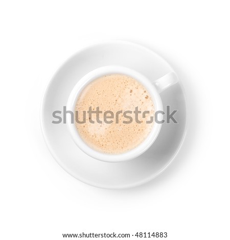 Coffee collection - Espresso with milk. Isolated on white background.