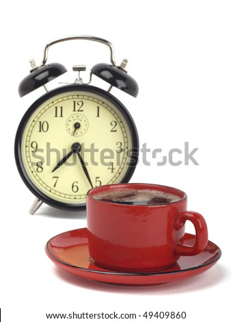 Coffee Cup And Alarm Clock On White Background Stock Photo 49409860 : Shutterstock
