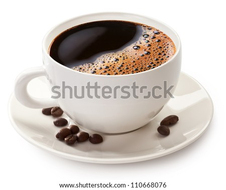 Coffee cup and beans on a white background. File contains the path to cut.