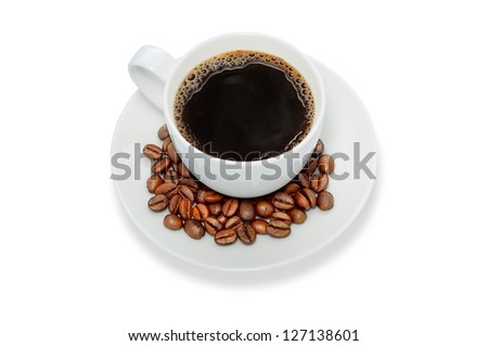coffee cup and coffee beans,isolate on white