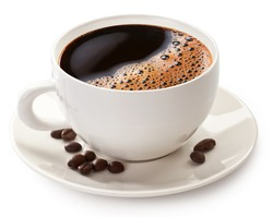 Coffee cup and coffee beans on a white background. File contains clipping path.