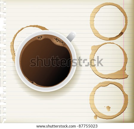 coffee cup and coffee stains - top view
