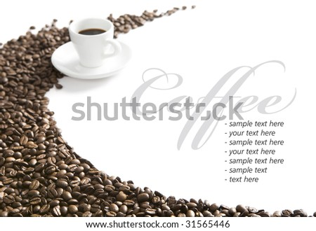 Coffee cup and grain on white background