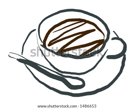 Coffee Cup and Sugar Spoon in Calligraphic Style