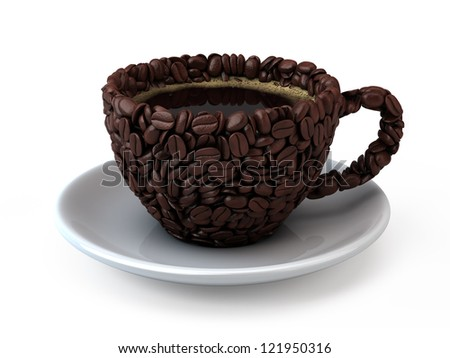 Coffee cup assembled from coffee beans - 3d render