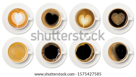 Photo of  coffee cup assortment top view collection, coffee cup assortment with heart sign top view collection isolated on white background.