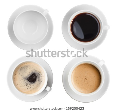 coffee cup assortment top view collection isolated #159200423