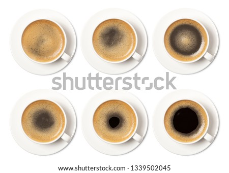 coffee cup assortment top view collection isolated on white background. #1339502045