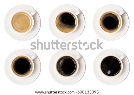 coffee cup assortment top view collection isolated on white background. above of coffee cup.